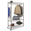 Alera ALEGR364818BL Wire Shelving Garment Rack, 40 Garments, 48w x 18d x 75h, Black