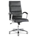 Alera ALENR4119 Neratoli Series High-Back Swivel/tilt Chair, Black Soft Leather, Chrome Frame