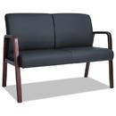 Alera ALERL2219M Reception Lounge Series Wood Loveseat, 44 7/8 X 26 X 33 1/4, Black/mahogany