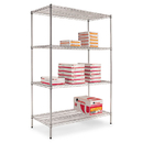 ALERA ALESW504824SR Wire Shelving Starter Kit, Four-Shelf, 48w X 24d X 72h, Silver