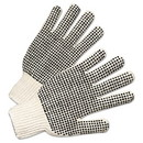 Anchor 708SKBS PVC-Dotted String Knit Gloves, Natural White/Black, Large, 12 Pairs