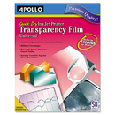 Apollo APOCG7033S Color Inkjet Quickdry Transparency Film W/removable Stripe, Letter, Clear, 50/bx