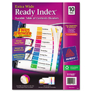 Avery AVE11165 Ready Index Customizable Table Of Contents, Asst Dividers, 10-Tab, 11 X 9 1/2