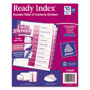 Avery AVE11169 Ready Index Customizable Table Of Contents Asst Dividers, 10-Tab, Ltr, 24 Sets