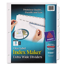 Avery AVE11441 Print & Apply Clear Label Dividers W/white Tabs, 8-Tab, 11 1/4 X 9 1/4, 5 Sets