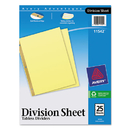 Avery AVE11542 Untabbed Sheet Dividers, Untabbed, Letter