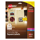 Avery AVE22805 Square Print-To-The-Edge Labels, 1 1/2 X 1 1/2, White, 600/pk