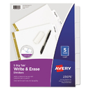 AVERY-DENNISON AVE23075 Write & Erase Big Tab Paper Dividers, 5-Tab, Letter
