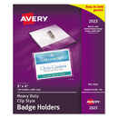 Avery AVE2923 Secure Top Clip-Style Badge Holders, Horizontal, 4 X 3, Clear, 100/box