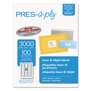 AVERY-DENNISON AVE30600 Laser Address Labels, 1 X 2 5/8, White, 3000/box