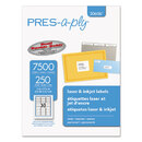 AVERY-DENNISON AVE30606 Laser Address Labels, 1 X 2 5/8, White, 7500/box