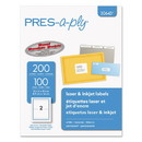 PRES-a-ply 30643 Labels, Inkjet/Laser Printers, 5.5 x 8.5, White, 2/Sheet, 100 Sheets/Pack