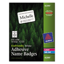Avery AVE42395 Ecofriendly Adhesive Name Badge Labels, 2 1/3 X 3 3/8, White, 160/box