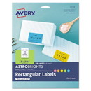 Avery 04331 Printable Color Labels with Sure Feed and Easy Peel, 2 x 2.63, Assorted Colors, 15/Sheet, 10 Sheets/Pack