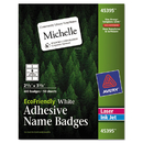 Avery AVE45395 Ecofriendly Adhesive Name Badge Labels, 2 1/3 X 3 3/8, White, 400/box