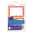 Avery AVE5143 Printable Self-Adhesive Name Badges, 2-11/32 X 3-3/8, Red Border, 100/pack