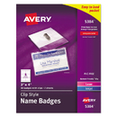 Avery AVE5384 Badge Holder Kit W/laser/inkjet Insert, Top Load, 3 X 4, White, 40/box