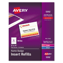 AVERY-DENNISON AVE5392 Additional Laser/inkjet Inserts, 3 X 4, White, 300/box