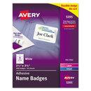 AVERY-DENNISON AVE5395 Flexible Self-Adhesive Laser/inkjet Name Badge Labels, 2 1/3 X 3 3/8, We, 400/bx