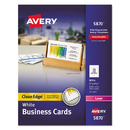 AVERY-DENNISON AVE5870 Two-Side Printable Clean Edge Business Cards, Laser, 2 X 3 1/2, White, 2000/box