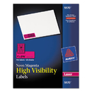 AVERY-DENNISON AVE5970 High Visibility Rectangle Laser Labels, 1 X 2 5/8, Neon Magenta, 750/pack