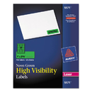 AVERY-DENNISON AVE5971 High Visibility Rectangle Laser Labels, 1 X 2 5/8, Neon Green, 750/pack