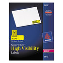 AVERY-DENNISON AVE5972 High Visibility Rectangle Laser Labels, 1 X 2 5/8, Neon Yellow, 750/pack