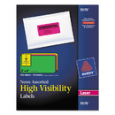 AVERY-DENNISON AVE5978 High Visibility Rectangle Laser Labels, 2 X 4, Assorted Neons, 150/pack