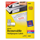 AVERY-DENNISON AVE6460 Removable Multi-Use Labels, 1 X 2 5/8, White, 750/pack