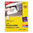 Avery AVE6465 Removable Multi-Use Labels, 8 1/2 X 11, White, 25/pack