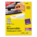 AVERY-DENNISON AVE6467 Removable Multi-Use Labels, 1/2 X 1 3/4, White, 2000/pack
