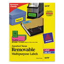 Avery AVE6479 High Visibility Laser Labels, 1 X 2 5/8, Assorted Neon, 360/pack