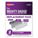 Avery 71202 The Mighty Badge Name Badge Holders, Horizontal, 3 x 1, Silver, 2/Pack