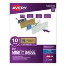 Avery 71203 The Mighty Badge Name Badge Holder Kit, Horizontal, 3 x 1, Inkjet, Gold, 10 Holders/ 80 Inserts