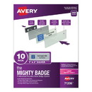 Avery 71206 The Mighty Badge Name Badge Holder Kit, Horizontal, 3 x 1, Laser, Silver, 10 Holders/ 80 Inserts
