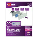Avery 71208 The Mighty Badge Name Badge Holder Kit, Horizontal, 3 x 1, Laser, Silver, 50 Holders/120 Inserts