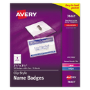 Avery AVE74461 Badge Holder Kit W/laser/inkjet Insert, Top Load, 2 1/4 X 3 1/2, White, 100/bx