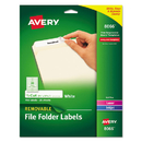 AVERY-DENNISON AVE8066 Removable File Folder Labels, Inkjet/laser, 2/3 X 3 7/16, White, 750/pack