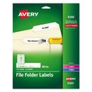 AVERY-DENNISON AVE8366 Permanent File Folder Labels, Trueblock, Inkjet/laser, White, 750/pack