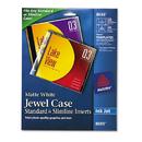 Avery AVE8693 Inkjet Cd/dvd Jewel Case Inserts, Matte White, 20/pack