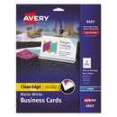 AVERY-DENNISON AVE8869 Print-To-The-Edge 2-Sided Clean Edge Business Card, Inkjet, 2x3 1/2, Wht, 160/pk