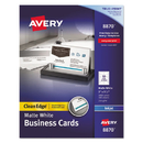 AVERY-DENNISON AVE8870 Two-Side Printable Clean Edge Business Cards, Inkjet, 2 X 3 1/2, White, 1000/box