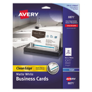 Avery AVE8871 Two-Side Printable Clean Edge Business Cards, Inkjet, 2 X 3 1/2, White, 200/pack