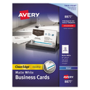 AVERY-DENNISON AVE8877 Two-Side Printable Clean Edge Business Cards, Inkjet, 2 X 3 1/2, White, 400/box