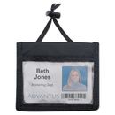 ADVANTUS CORPORATION AVT75452 Id Badge Holder W/convention Neck Pouch, Horizontal, 4 X 2 1/4, Black, 12/pack