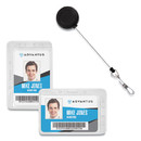 Advantus AVT76096 Antimicrobial ID and Security Badge with Cord-Reel Combo Pack, Horizontal, 4.13 x 2.88, Frosted Transparent, 20/Pack