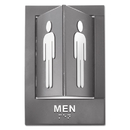 Advantus 91096 Pop-Out ADA Sign, Men, Tactile Symbol/Braille, Plastic, 6 x 9, Gray/White