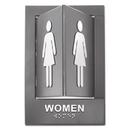Advantus 91097 Pop-Out ADA Sign, Women, Tactile Symbol/Braille, Plastic, 6 x 9, Gray/White