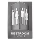 Advantus 91098 Pop-Out ADA Sign, Restroom, Tactile Symbol/Braille, Plastic, 6 x 9, Gray/White