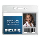 SICURIX BAU67810 Badge Holder, Horizontal, 2.13 x 3.38, Clear, 12/Pack